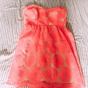 DELIA's hot pink floral strapless dress